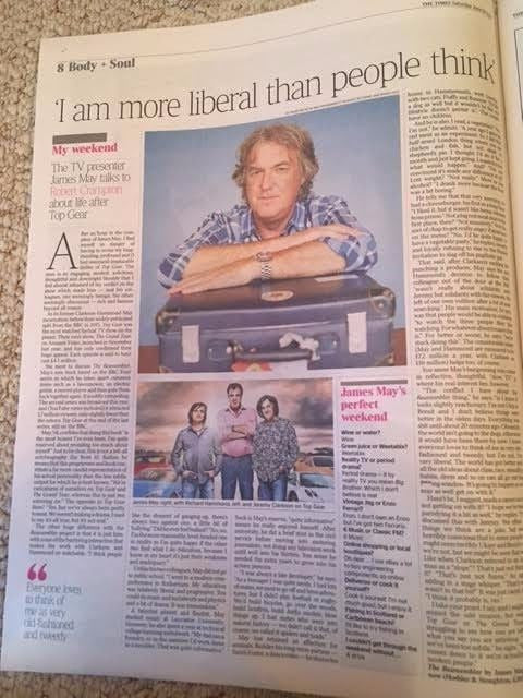 UK Times Weekend 10 June 2017 James May interview on Top Gear, Richard Hammond