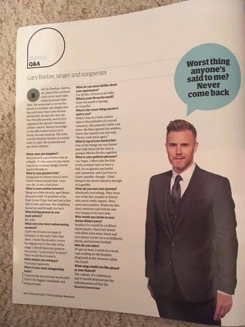 Guardian Weekend Magazine February 2017 Gary Barlow interview