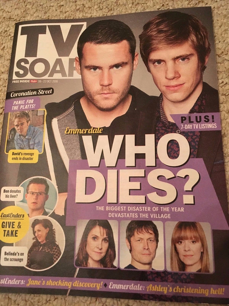 TV SOAP MAGAZINE OCTOBER 2016 DANNY MILLER RYAN HAWLEY EMMERDALE CHRIS GASCOYNE