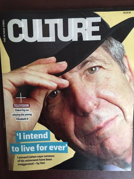 Leonard Cohen The Sunday Times Culture UK Cover Magazine - Exclusive Interview