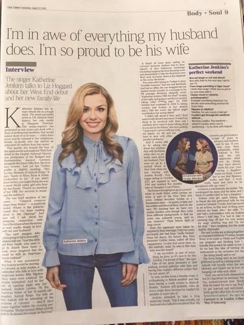 KATHERINE JENKINS UK Photo Times Interview April 2017