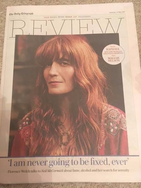 UK Telegraph Review May 27th 2017 Florence And The Machine Cover Story