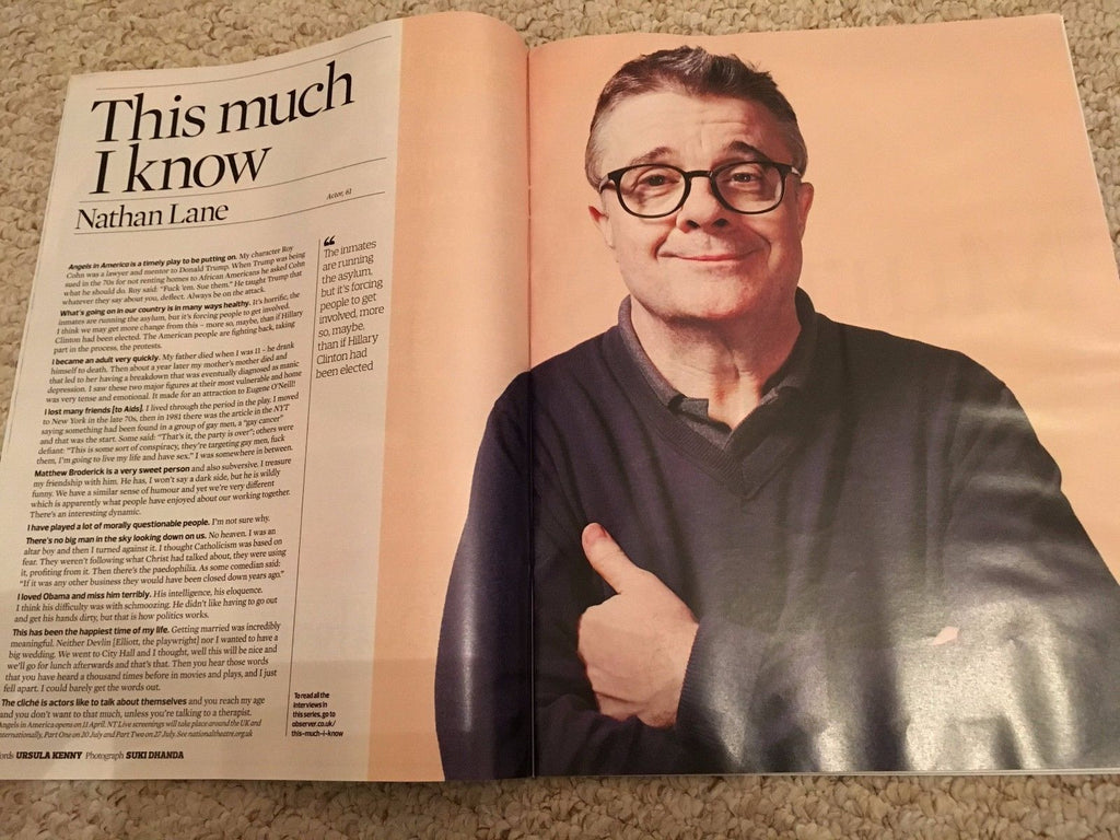 Observer Magazine 12 March 2017 Cillian Murphy Photo Cover Interview Nathan Lane