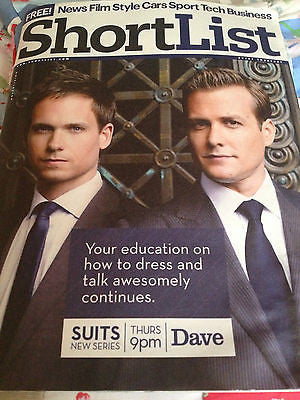 SHORTLIST MAGAZINE PATRICK J ADAMS GABRIEL MACHT SUITS MARK STRONG CHARLES DANCE