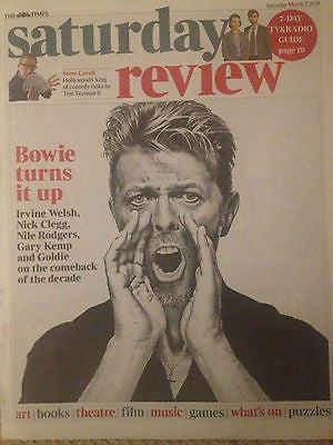 David Bowie Photo Cover Times Saturday Review 2013 RARE UK ISSUE