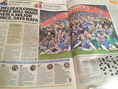 London Evening Standard 16 May 2013 Chelsea vs Benfica Europa League Champions
