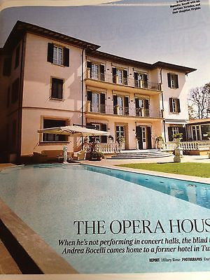 ANDREA BOCELLI at home TUSCAN VILLA UK 1 DAY ISSUE BRAND NEW MAGAZINE