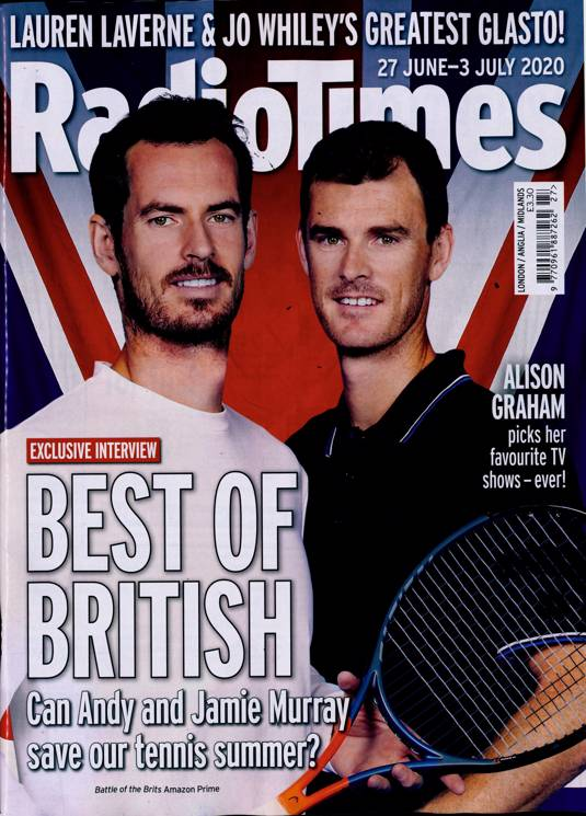 Radio Times Magazine 27th June 2020: ANDY MURRAY Rory Kinnear EVE HEWSON Bono U2