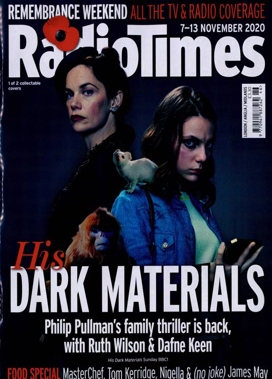 UK Radio Times Magazine 7 Nov 2020: HIS DARK MATERIALS Ruth Wilson DAFNE KEEN