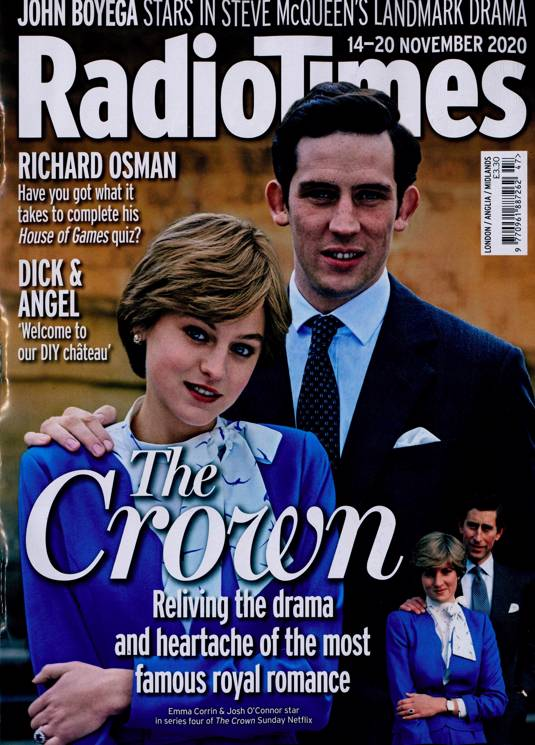 UK Radio Times Magazine 14 Nov 2020: THE CROWN Josh O'Connor EMMA CORRIN