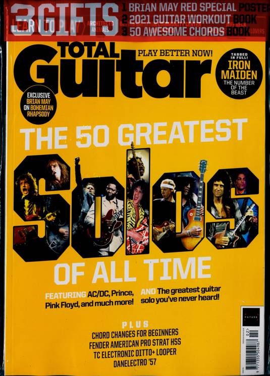 Total Guitar magazine #341 Feb 2021 BRIAN MAY Queen PRINCE AC/DC + Red Special Poster