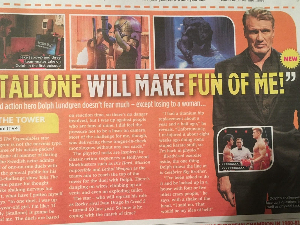 SUN TV Magazine SEPT 2018: LEE RYAN Faye Tozer (Steps) DOLPH LUNDGREN