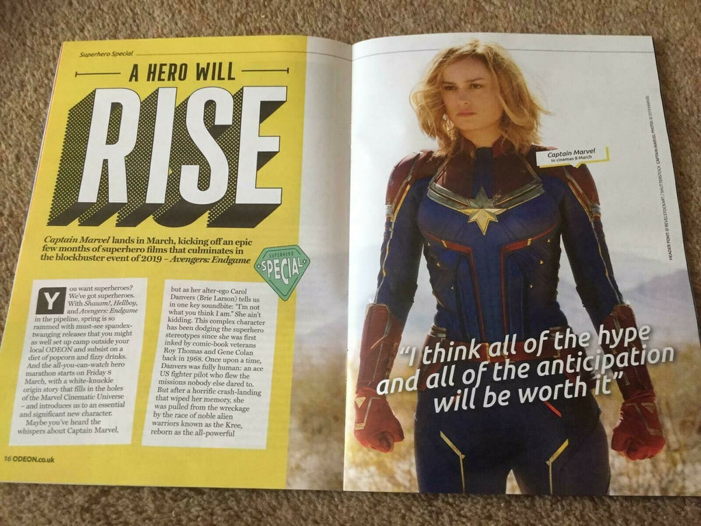 UK Odeon Magazine March 2019: HELLBOY Captain Marvel BRIE LARSON Neil Marshall