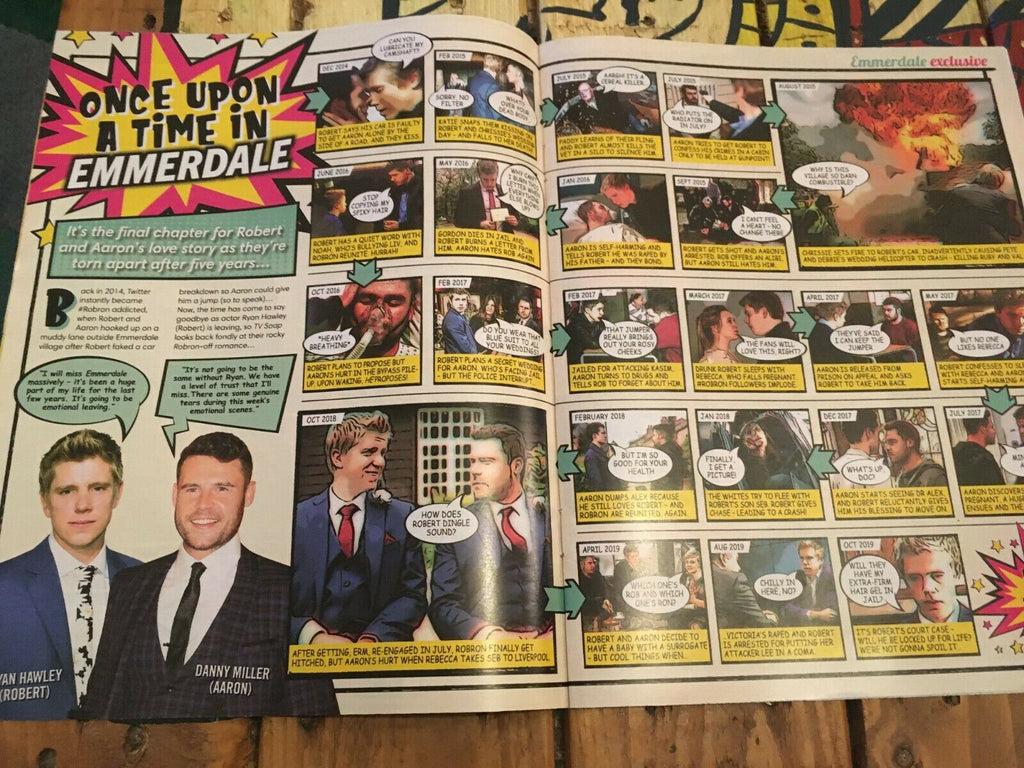 TV Soap Magazine Oct 2019 DANNY MILLER & RYAN HAWLEY (ROBRON) Emmerdale 40 pages