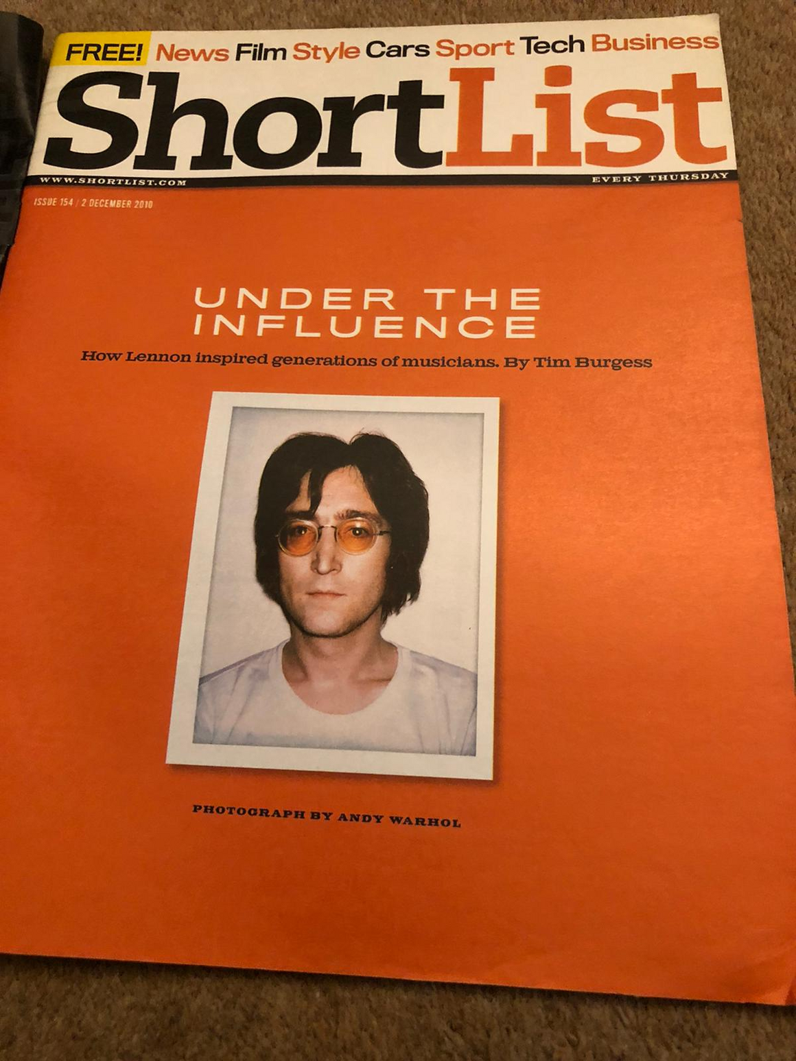 Shortlist Magazine December 2010 John Lennon The Beatles