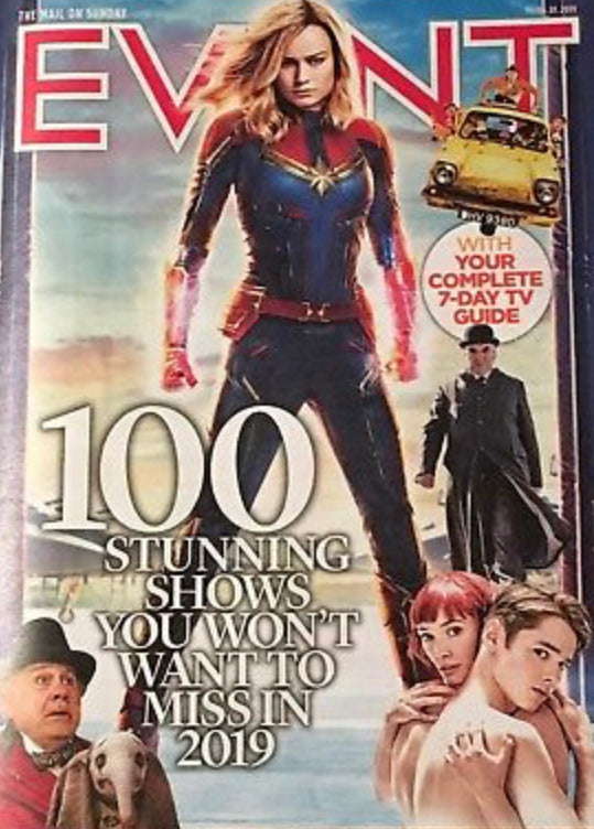 UK Event Magazine Jan 2019: CAPTAIN MARVEL Brie Larson RICHARD O'BRIEN