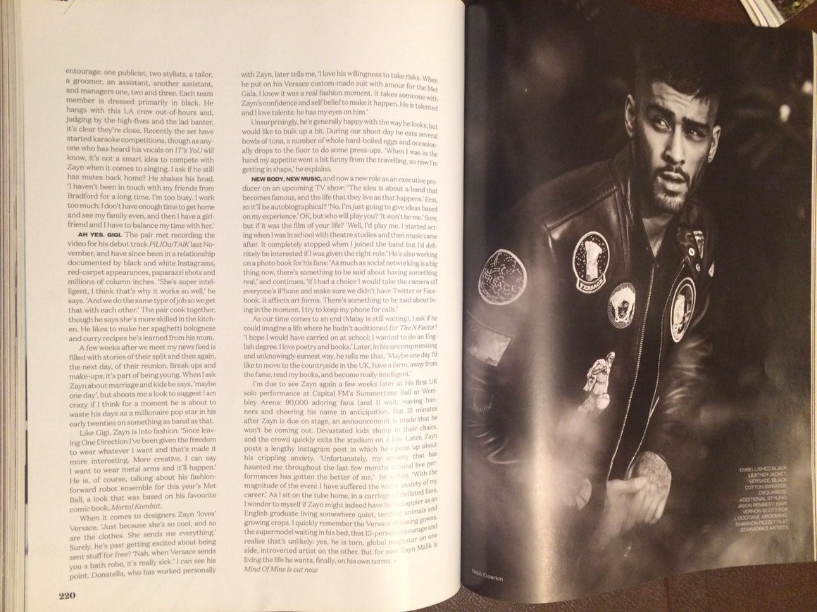 ELLE MAGAZINE BRITISH September 2016 Zayn Malik One Direction