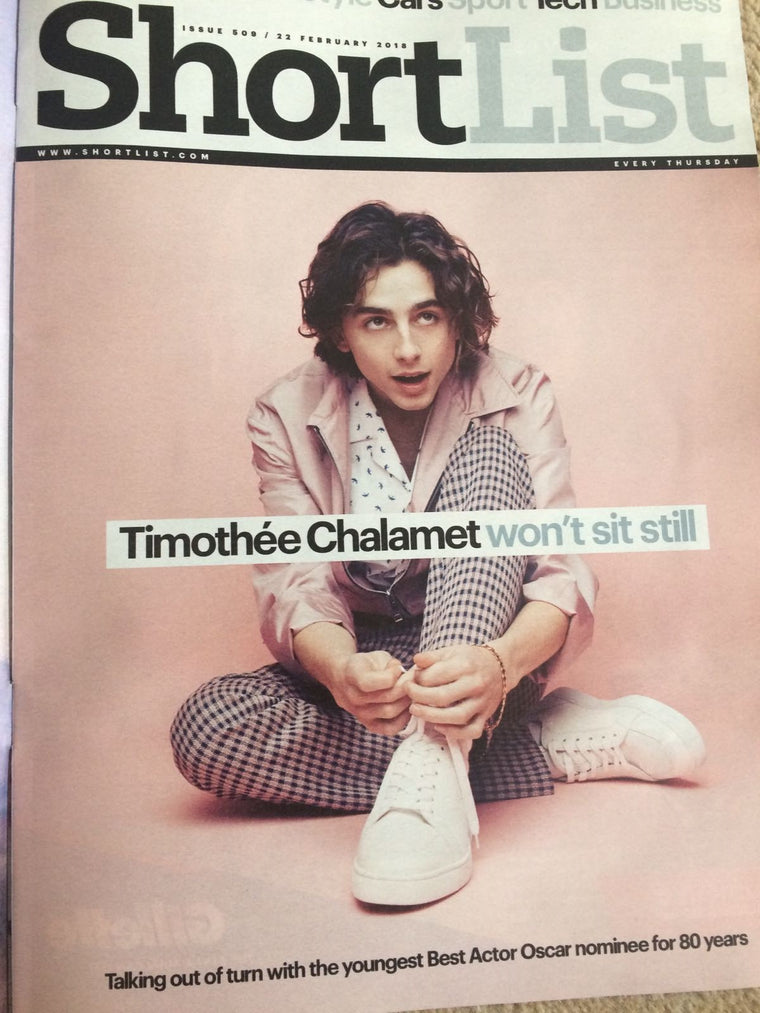 UK Shortlist Magazine FEB 2018: TIMOTHEE CHALAMET COVER & INTERVIEW