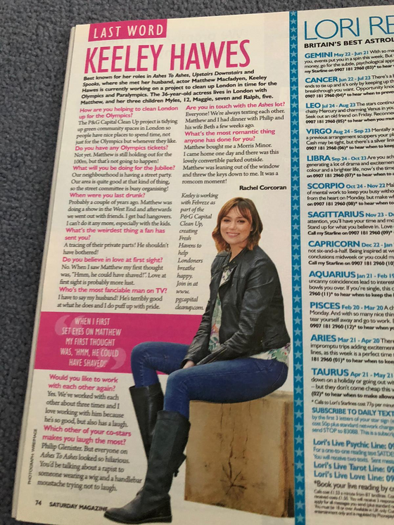 Saturday Magazine 26th May 2012: Keeley Hawes Interview