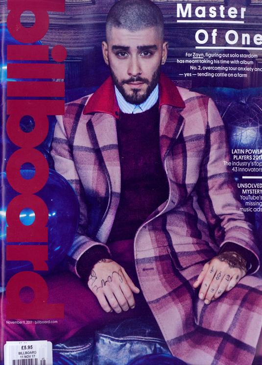 Zayn on the cover of Billboard Magazine