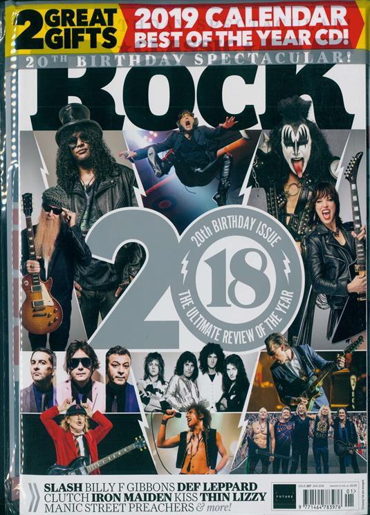 Classic Rock Magazine JAN 2019: DEF LEPPARD Iron Maiden SLASH Free 2019 Calendar