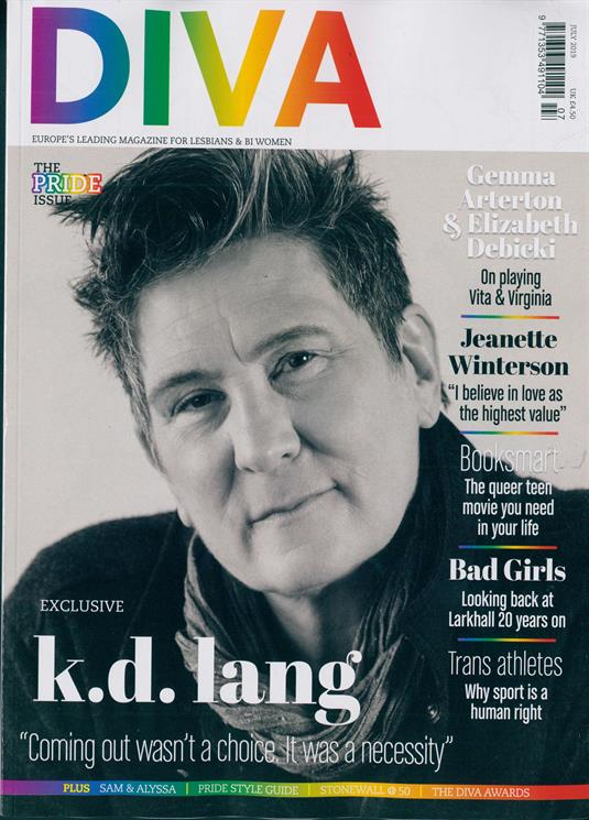 UK Diva Magazine July 2019: KD LANG COVER AND FEATURE