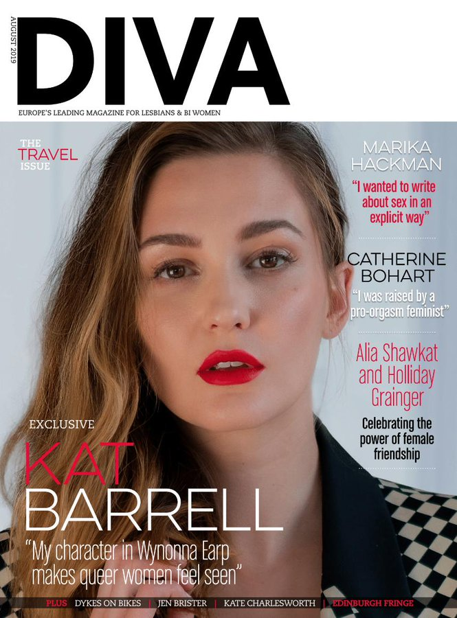 UK Diva Magazine August 2019: Wynonna Earp KAT BARRELL COVER EXCLUSIVE