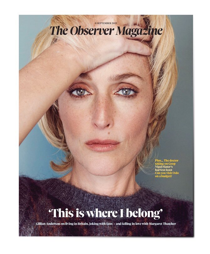 OBSERVER magazine 8 September 2019 Gillian Anderson cover and interview