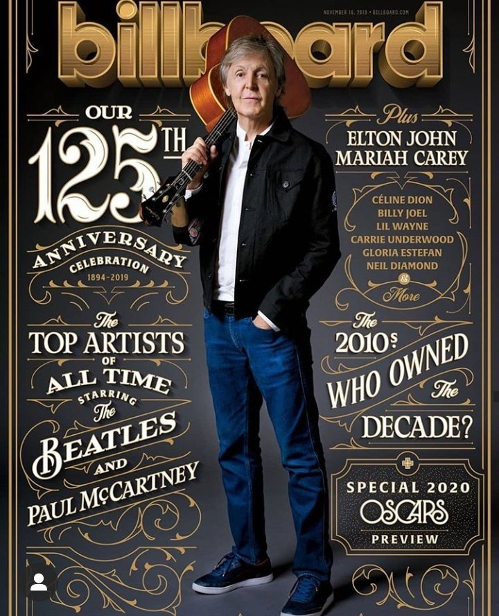 PAUL MCCARTNEY - US BILLBOARD MAGAZINE - NOVEMBER 2019