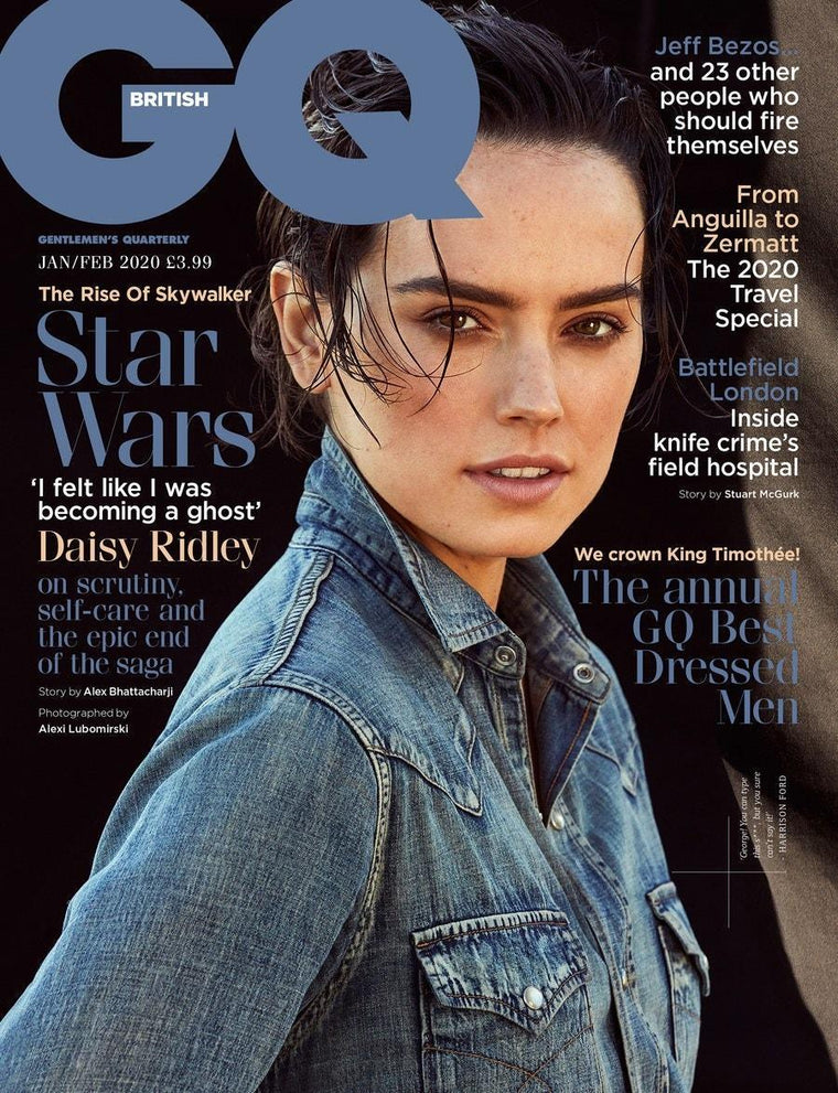 British GQ Magazine January 2020: DAISY RIDLEY Star Wars TIMOTHEE CHALAMET