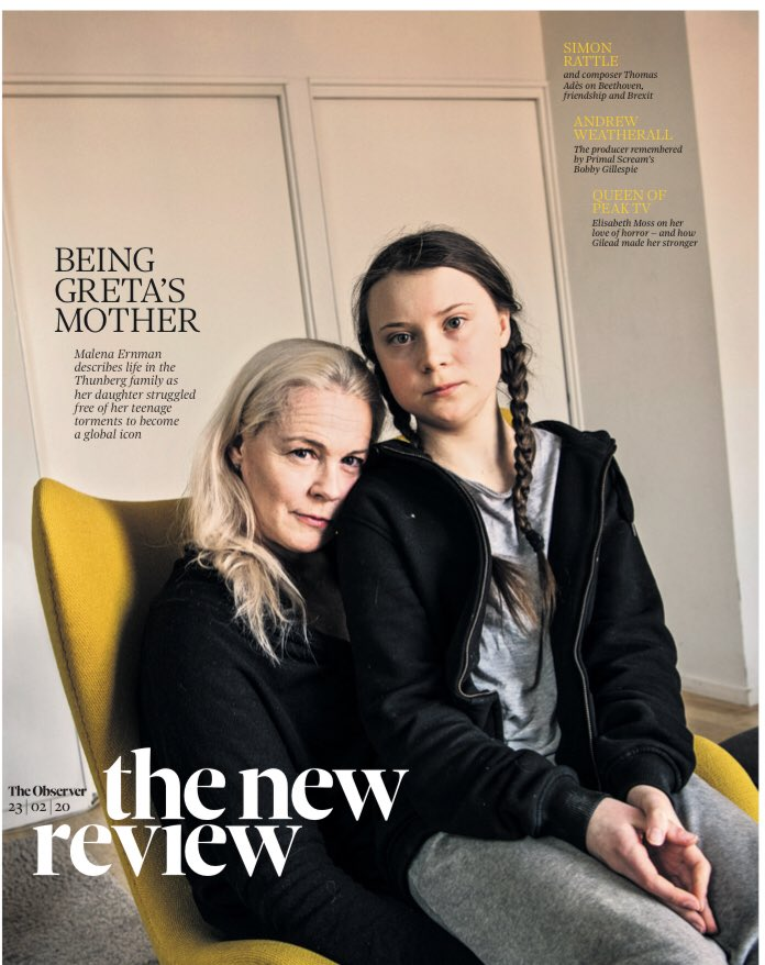 UK Observer Review Feb 2020: GRETA THUNBERG COVER - Elisabeth Moss Colin Morgan