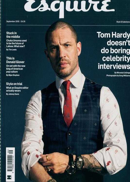 UK ESQUIRE MAGAZINE SEPTEMBER 2018: TOM HARDY COVER EXCLUSIVE INTERVIEW