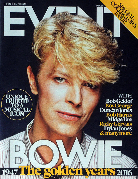 THE MAIL ON SUNDAY EVENT MAGAZINE 17 JAN 2016 . DAVID BOWIE COVER