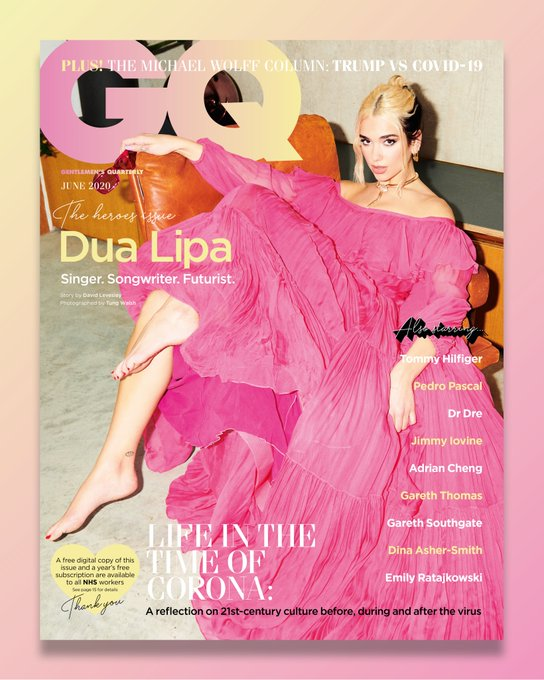 British GQ Magazine June 2020: DUA LIPA COVER FEATURE