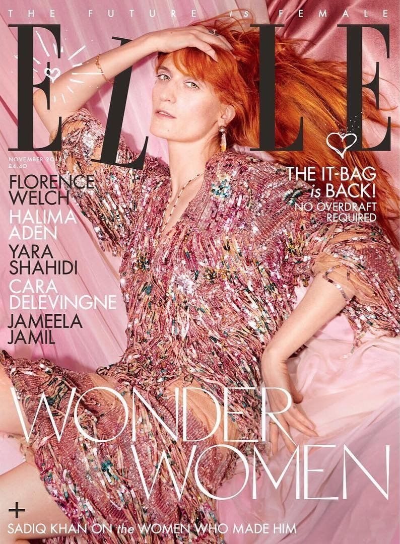 UK Elle Magazine November 2018: FLORENCE WELCH & THE MACHINE COVER & FEATURE