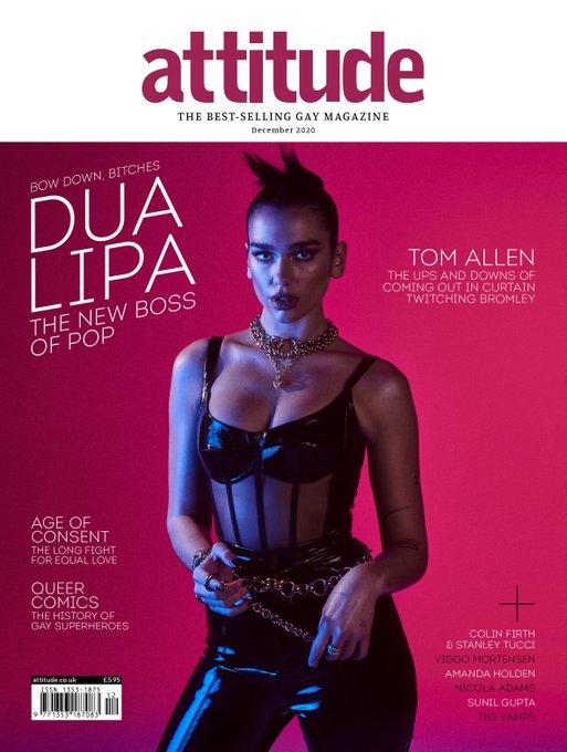 UK Attitude Magazine Dec 2020 DUA LIPA COVER FEATURE Colin Firth VIGGO MORTENSEN