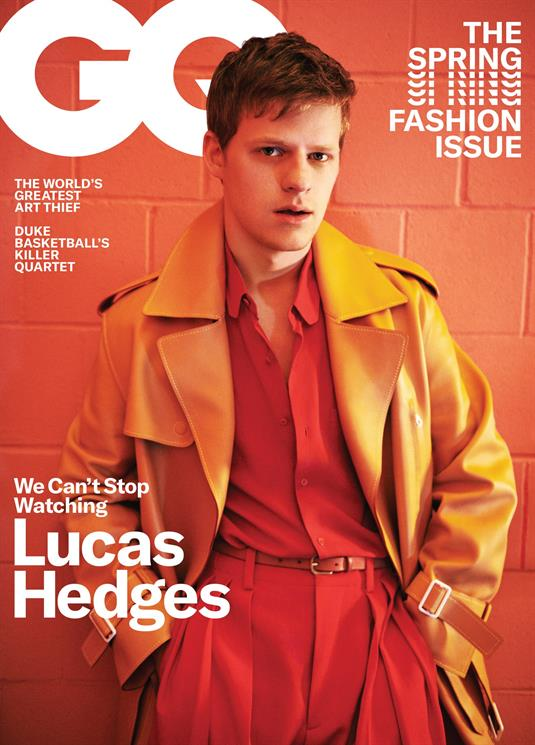 US GQ Magazine March 2019: LUCAS HEDGES COVER AND FEATURE