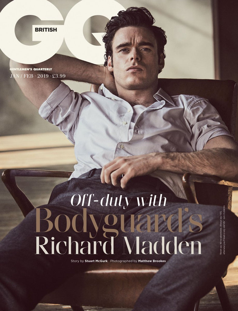 BRITISH GQ MAGAZINE - JANUARY 2019 - RICHARD MADDEN COVER AND FEATURE
