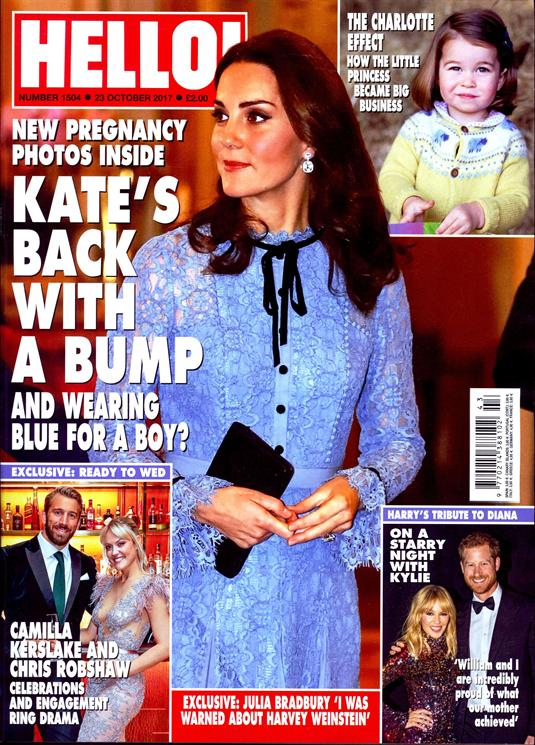 HELLO! magazine 23 October 2017 Kate Middleton Amber Le Bon Dawn French Kylie Minogue