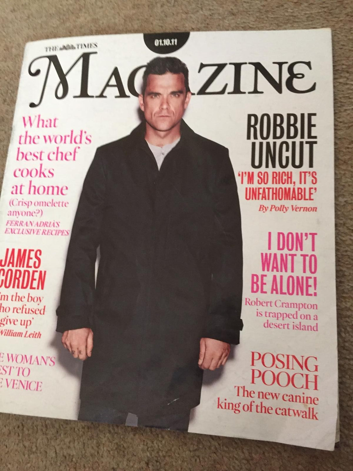 The Times magazine - Robbie Williams Interview (1 October 2011)