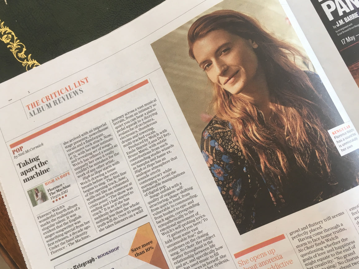 UK Telegraph Review 23 June 2018 Florence Welch