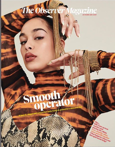 UK Observer Magazine February 2019: JORJA SMITH PHOTO COVER INTERVIEW