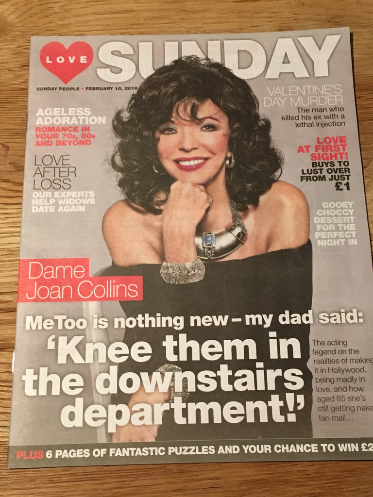 New UK Joan Collins Love Sunday Magazine Cover Interview February 2019
