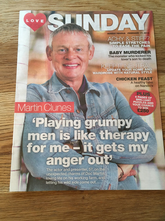 UK Love Sunday Magazine Feb 2019: MARTIN CLUNES COVER INTERVIEW