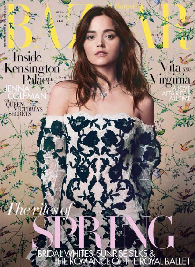 UK Harper's Bazaar Magazine April 2019: JENNA COLEMAN COVER STORY & FEATURE