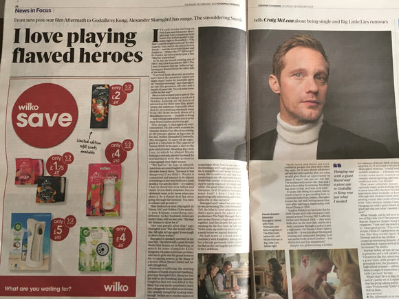 London ES Newspaper 28 Feb 2019: Alexander Skarsgard Interview