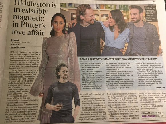 London Evening Standard 14th March 2019: Tom Hiddleston in Betrayal