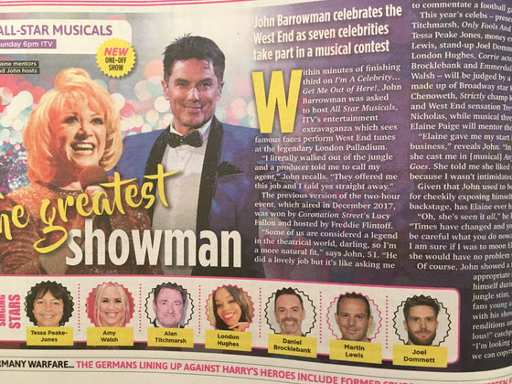 UK SUN TV March 16 2019: JOHN BARROWMAN Elaine Paige NIKKI SIXX Movren Christie
