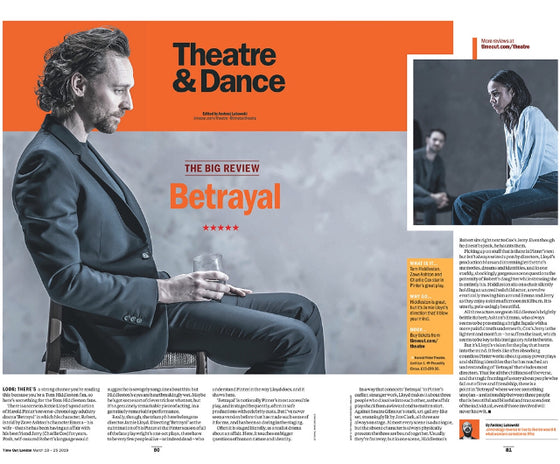London Time Out Magazine 19th March 2019: The Tom Hiddleston Betrayal Review