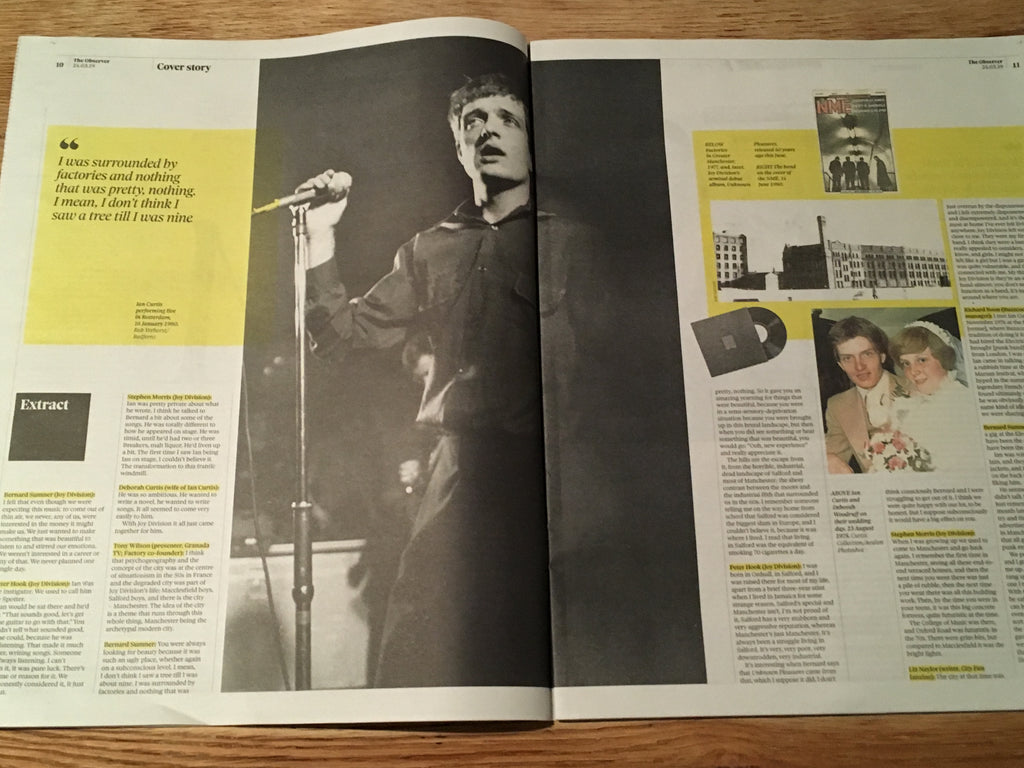 UK Observer New Review 24th March 2019: Joy Division Ian Curtis Cover Story